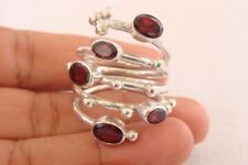 Red Garnet Cluster Wrap Cocktail 925 Sterling Silver Ring Size 6 7 8