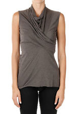 RICK OWENS LILIES New Woman Grey Dark Dust Wool WRAP Top Tee Made Italy NWT