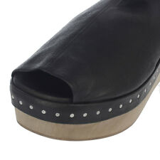 RICK OWENS New Woman black Leather Open Toe shoes Boots Made Italy