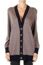 TORY BURCH New Woman grey blue Merino Wool V neck Long sleeve Cardigan Sweater