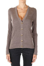 TORY BURCH  Woman grey beige SHRUNKEN Merino Wool V neck Cardigan Sweater