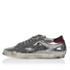 P448 New women Cracked Silver Leather Low Sneakers Shoes A5JOHN