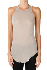 RICK OWENS New woman Beige BASIC RIBBED TANK Silk Blend Made Italy NWT