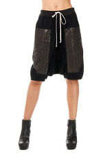 RICK OWENS New Women BLACK 100% virgin Wool Bermuda Shorts PODS Sequins Pants
