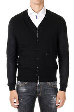DSQUARED2 New Man Black Cardigan Sweater Wool Zip Buttons Long Sleeve NWT