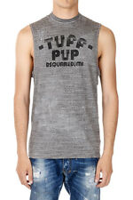 DSQUARED2 Dsquared² New Man Grey Sleeveless Tee T-shirt Printed Made in Italy