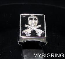 STERLING SILVER HITMAN SIGNET RING SKULL CROSSED AUTOMATIC GUNS BLACK ANY SIZE
