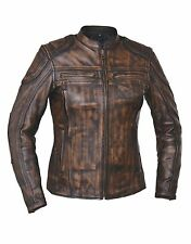 NEW Womens Nevada Brown DIstressed Premium Leather Motorcycle biker Jacket $249