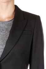 GUCCI New Women Grey wool Blend Leather Buttons Blazer Made in Italy