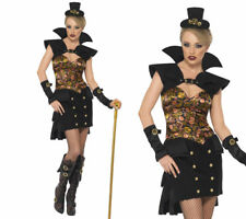 Steam Punk Victorian Vampiress Costume Ladies Halloween Fancy Dress S-L