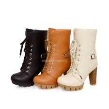 Womens Ladies Punk Riding High Heels Casual Lace Up Shoes Ankle Boots All Size