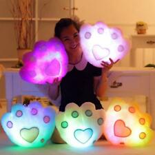 Changing LED Bear's Paw Shape Cute Glowing Pillow Light Up Soft Cosy Cushion