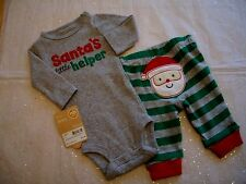 CARTER'S BOYS  SANTA'S LITTLE HELPER 2 PIECE CHRISTMAS OUTFIT NWT SO CUTE!!