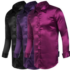 Mens Silk Like Satin Long Sleeve Dress Shirt Formal Casual Business Shirts Tops