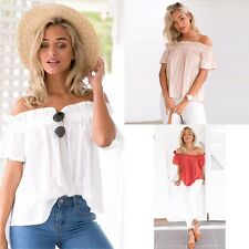 Fashion Sexy Ladies Womens Off Shoulder Summer Casual T-shirt Tops Blouse Vest