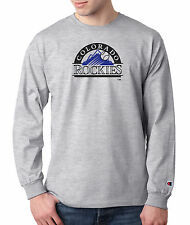 Colorado Rockies Throwback Champion LONG SLEEVE T-Shirt Mens Tagless T Shirt