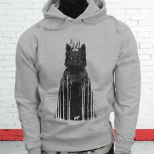 Wild Animal Zoo Puppy Forest Coyote Twilight Siberian Wolf Mens Gray Hoodie