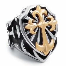 Mens Boys Stainless Steel Ring Band Fleur De Lis Gold Cross Knight Size 7-15