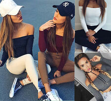 Sexy Womens Off Shoulder Crop Top Tight Fitted Blouse Long Sleeve Shirt Knitwear