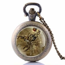 Gift Retro Spider Pocket Pendant Necklace Watch Quartz Vintage Antique New Chain