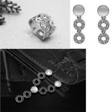 Crystal Jewellery Sets Silver Plated Pendant Necklace Drop Earrings Ring Wedding
