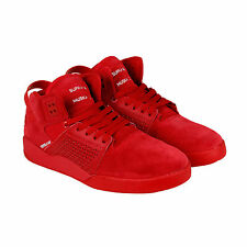 Supra Skytop III Mens Red Leather Lace Up Trainers Shoes