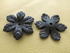 24x27mm 20/50pcs FROSTED BLACK ACRYLIC PLASTIC FLOWER BEADS Y01475