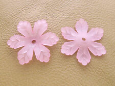 24x27mm 20/50pcs FROSTED PINK ACRYLIC PLASTIC FLOWER BEADS Y01471