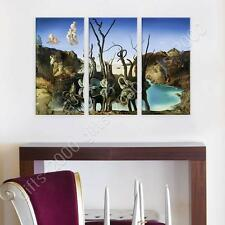 Synthetic CANVAS  Salvador Dali Swans Reflecting Elephants 3 Panels gallery