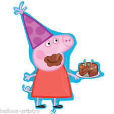 "33"" Peppa Pig Birthday Cake Mess Children's Party Foil Supeshape Balloon"