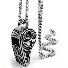 Men's Silver Retro pattern Whistle Pendant 316L Stainless Steel Necklace Chain