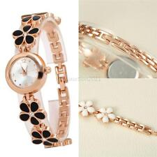 Stylish Flower Watch Fashion Steel Case Girl Women Quartz Bracelet Wrist Watch