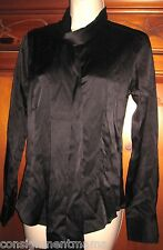 Naracamicie Silk Charmeuse Blouse Shirt w/ Scarf Long Sleeve New Black or Red