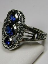 *Blue Sapphire*Solid Sterling Silver Victorian Design Filigree Ring Size Any/MTO