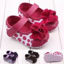 Infant Girls Canvas Leather First Shoes Polka Dot Prewalker Flower Crib Shoes