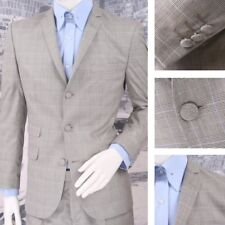 Get Up Mod Retro Single Breasted Slim Fit Prince of Wales Suit Stone