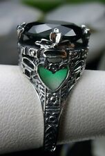 6ct Round*Emerald* Sterling Silver Leaf Floral Filigree Ring Size: Made To Order