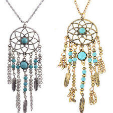 Turquoise Long Sweater Womens Retro Feather Pendant Chain Necklace Fashion