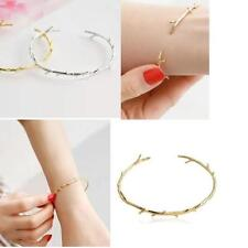 Charms Lady 18K Gold Plated Twist Thorns Cuff Open Personalized Bracelet Bangle#