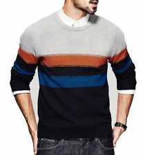 Mens Pullover Round Neck Long Sleeve Contrsted Striped Slim Sweater M L XL XXL