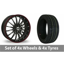 """4 x 15"""" Team Dynamics Jet RS Black Red Alloy Wheel Rims and Tyres -  215/65/15"""