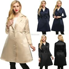 Notched Collar Womens Long Swing Trench Coat with Belt High Waist Polyester W3LE