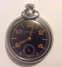 A 1950/60'S Ingersoll Chrome Cased Pocket Watch Black Dial Brown Numbers Hands