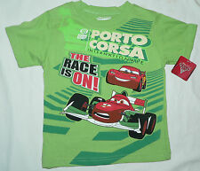 Licd.Quality Disney Pixar CARS Green Cotton T-shirt -Sz 2 & 3 -Imported from USA