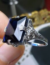 12ct Square*Blue Sapphire* Sterling Silver Victorian Filigree Ring Size: Any/MTO