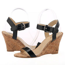 Women Patent Leather Wood Heel Sandals Solid Ankle Strap High Heels Wedge Sandal