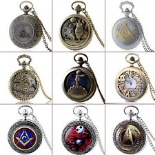 Pocket Watch Vintage Retro Antique Quartz Steampunk Pendant Necklace Chain Mens