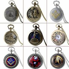 Retro Bronze Pocket watch Pendant Necklace Quartz New Gift Vintage Antique