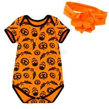 Halloween Baby Girl Toddler Romper Headband Pumpkin Outfit Tutu Skirt Costume