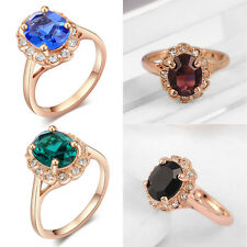 Fashion Women Bling Austrian Crystals Zircon Ring 18k Gold Plated Jewelry Gift